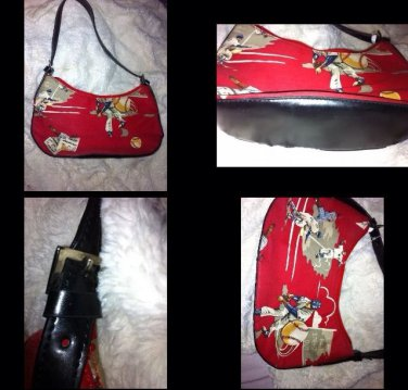 Miki Miki Sports Baseball Theme Small Purse Red/ Beige Black Faux Leather Straps