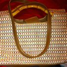 Authentic Fossil Striped canvas and Straw Women's Handbag W/ Wooden Handle 75082
