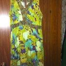 USINDO Artsy Dress Sz L Soft green/teal/brown