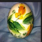 Signed Gail Hand Painted Abstract Yellow Flowers Original Egg Art 1998