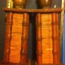 2 Vintage Handmade Wooden Candle Stick Holders