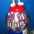 "M&M's CANDY DISPENSER Coin Bank Baseball Gumball Machine Novelty Red 9"" Tall"