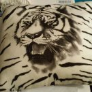DECORATIVE TIGER STRIPED  White, and Black Throw PILLOW 18849-700G