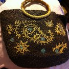 Vintage Brown Straw Beach Purse Wooden Handle Floral Accent Sequin