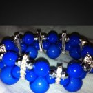 Custome Cross Thick Beaded Bracelet Blue And Silver And White