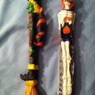 Set Of Two Thin Halloween Figurines -Tall - Witch & Skeleton 2 Diff. Characters