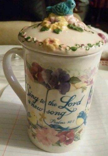 2003 LADY JAYNE Ltd FLOWER  MUG Cup with top 2 Piece