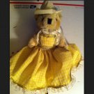 Brown Bear Western Cowgirl Angel Teddy Bear Yellow Dress Handmade