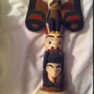 Vintage Native American Totem Pole• Hand Carved/Painted Wood• Indian