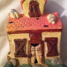 Halloween Haunted House Ceramic Tealight Candle Holder Pumpkin Ghoul Pink Roof
