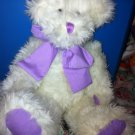 "Burton & Burton Approx 17"" White Teddy Bear Plush Jointed Purple Green Bow"