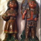Vintage Homemade Indian Chief & Woman Papoose
