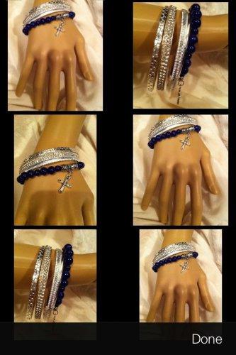 Handmade Comfort cross Black bead  bracelet Bangles; Detailed Cross Charm