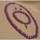 3 Piece Comfort Cross Pearl With Pink Necklace, Earrings, & Bracelet  Sets NIB