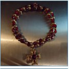 Handmade gemstone bead stretch bracelet; Detailed Cross Charm
