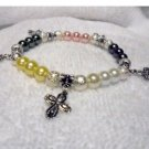 Comfort Cross Charm Bracelet with Glass Pearls and Swarovski Crystals