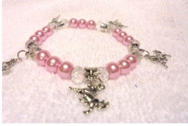 Horse Pony Animal Charm Bracelet with Glass Pearls and Swarovski Crystals