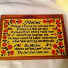 Vtg Sequoia Redwood Mother wooden rose plaque GIFT Poem Home Decor Souvenir  Day