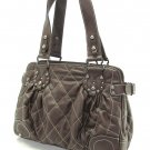 Chocolate Brown Quilted Bucket Handbag Tote Purse Bag