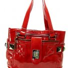 Patent Red Hobo Tote Handbag Purse Faux Leather Bag