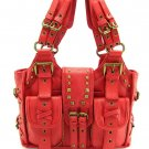 Red Motorcycle Metal Buckle Hobo Handbag Tote Purse Bag