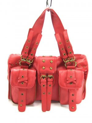 Red Motorcycle Buckle Hobo Handbag Tote Purse Bag LG