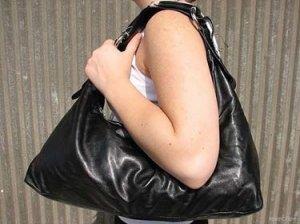Solid Black Horsebit Hobo Handbag Tote Purse Bag