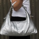 Metallic Silver Horsebit Hobo Handbag Tote Purse Bag