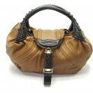 Camel Tan Brown Braid Handle Spy Handbag Tote Purse Bag