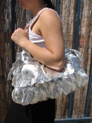 Silver Leaf Floral Chain Handbag Fashion Tote Purse Bag
