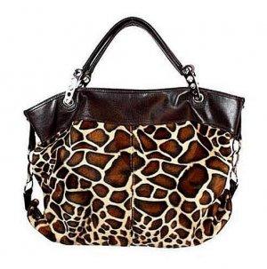 Large Leopard Print Clasp Hobo Tote Handbag Purse Bag