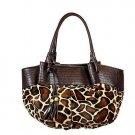 Large Leopard Print Hobo Bucket Tote Handbag Purse Bag