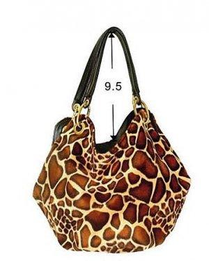 Faux Giraffe Skin Hobo Bucket Tote Handbag Purse Bag