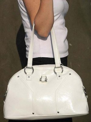 Patent White Dome Handbag Purse Hobo Tote Bag by Vani