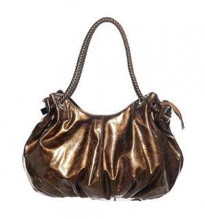 Patent Gold Bronze Hobo Tote Handbag Purse Fashion Bag