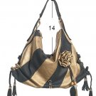 Black Gold Stripe Flower Hobo Tote Handbag Purse Bag
