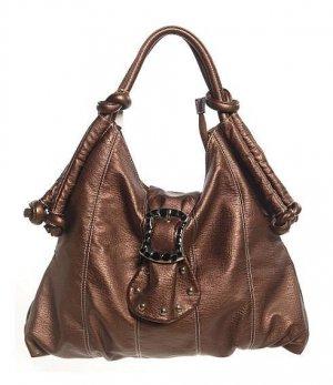 Bronze Buckle Flap Hobo Tote Handbag Purse Fashion Bag