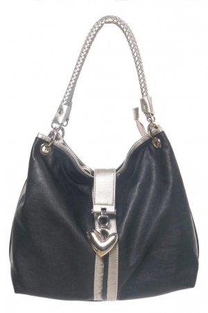 Heart Pendant Black Silver Handbag Purse Fashion Bag