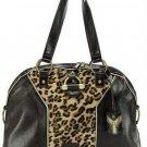 Dark Brown Leopard Suede Dome Handbag Purse Hobo Bag