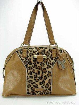 Camel Tan Leopard Suede Dome Handbag Purse Hobo Bag
