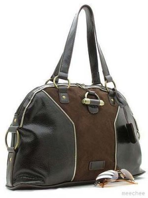 Brown Suede Dome Muse Bowler Handbag Purse Hobo Bag