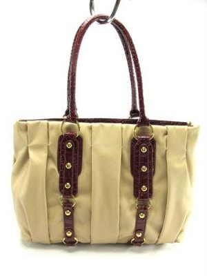 Tan Bucket Coffer Pleated Handbag Tote Purse Bag