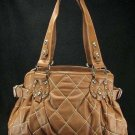 Camel Tan Brown Quilted Bucket Handbag Tote Purse Bag