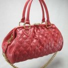 Red Quilted Stitch Chain Stam Handbag Tote Purse Bag