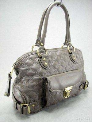 Ash Gray Quilted Elise Venetia Handbag Tote Purse Bag