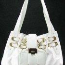 White Ramona Handbag Fashion Tote Purse Bag w/ Gold