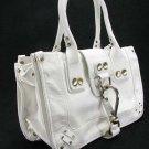 Large White Button Hook Tote Handbag Purse Fashion Bag