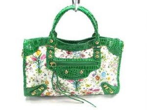 Green Le Dix Flower Hobo Tote Handbag Purse Fashion Bag