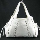 White Lucy Marcelle Drawstring Tote Handbag Purse Bag