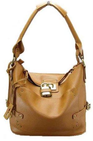 Camel Padlock Bucket Tote Handbag Purse Fashion Bag